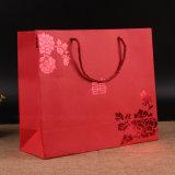 Bolsos de papel de sellado calientes del regalo de las compras del color rojo con la maneta Twisted