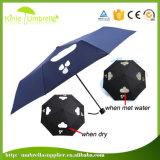Paraguas cambiante del color negro a prueba de viento abierto automático de la manera