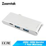6 em 1 tipo USB 3.0 C para HDMI Hub USB 3.0 3 PORTAS TF Adaptador Leitor de cartão SD do MacBook