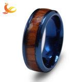 La moda de acero inoxidable dedo anillo chapado en madera con incrustaciones de joyas