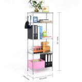 Unidade de estante de organização de rack de armazenamento de 5 níveis com pés de nivelamento ajustáveis, cinza de prata