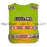 Maglia riflettente della maglia LED di sicurezza del LED con il faro e la casella