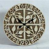 Часы стены домашнего акцента Затрапезн-Шика декора деревянные круговые