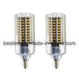 La luz E12 20W del maíz del LED calienta la lámpara de plata blanca del bulbo de la carrocería LED del color