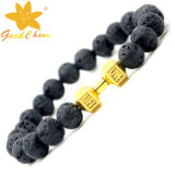 Lvb-16112810 10mm Negro Color Lava Piedra con gato rosa Eyestone perro encanto pulsera