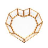 Plateaux de cuivre en verre d'étalage de bijou en métal de forme décorative de coeur