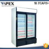 Refrigerador de exibição de duas portas com sistema de refrigeração dinâmica de ventilador, Ce, CB, ETL Aprovado