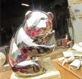 Lovely Panda en acier inoxydable, jardin extérieur, décoration d'intérieur, sculpture cadeau