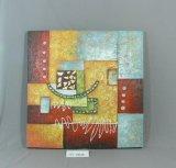 Reticolo giallo rosso della casella blu della pittura d'attaccatura della tela di canapa domestica