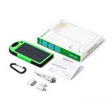 5000mAh Waterproof RoHS Carregador de telefone celular Solar Power Bank com Emerency LED Torch