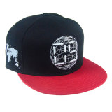 Personalizado de impresión negro moda de cuero bordado Visor Hat Bill Tapa Plana Snapback