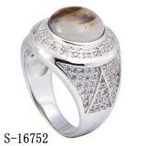 A forma de prata Mirco dos projetos 925 novos pavimenta anéis dos homens da CZ do ajuste