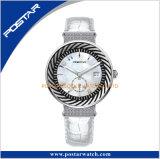 Het duurzame Horloge van de Vrouwen van de Manier van de Riem van het Leer van het Geval van het Roestvrij staal Echte