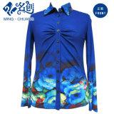 El botón del Multi-Modelo del azul de océano Da vuelta-Abajo a la blusa delgada elástico del collar