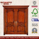 A antiguidade cinzelou a madeira de carvalho contínua das portas feita porta principal da casa para a casa de campo (XS1-017)