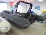 Barco inflável do reforço da casca da fibra de vidro de PVC/Hypalon com console
