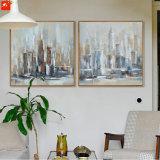 Peinture à l'huile de paysage urbain d'illustration de mur d'architecture