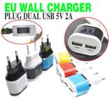 EU Plug Dual USB 5 V 2A Poorten Travel Adapter Chargeur Couleur pour iPhone 5 S 6 6lus