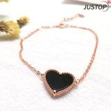 Черный в форме сердечка закрывается позолоченный браслет для женщин