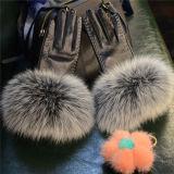 Guanti di cuoio delle pecore delle donne di prezzi di fabbrica con la pelliccia del coniglio di Rex/guanti neri