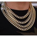 Miss jóias revestimento PVD Hip Hop Gold Diamond Cadeia Cubano Colar de corrente de jóias para homens