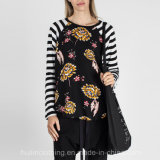 혼합 꽃 줄무늬 대조 Raglan 긴 소매 t-셔츠