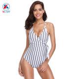 Les femmes est sexy Stripe maillot de bain en une seule pièce col V monokini Maillot de bain