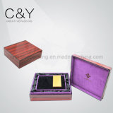 Rectángulo de regalo de madera del final de dos piezas de madera sólida para el conjunto del perfume