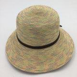 Brim шлема сторновки женщин способа бумажный широкий при прикрепленная полоса кроны PU кожаный (Sh060)
