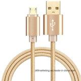 Micro cavo Braided di nylon del USB di Andriod con il connettore Oro-Elettrolitico