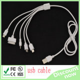 5 in 1 USB Cable White Phone Cable 100cm di Multi Function