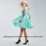 Schaufel-Stutzen-wulstiger Spitzekristallapplique-elegantes kurzes Abschlussball-Kleid