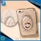 El cristal electrochapa la caja del teléfono de TPU para el más de Huawei P9/P9 con la caja del sostenedor del anillo del Rhinestone