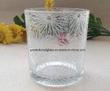 Gedruckter Glaskerze-Halter mit hölzerner Schutzkappe