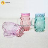 Consumo de vidro Animal-Shaped personalizado Mason Jar com pega