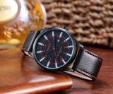 планка случая черноты Wristwatch способа Unisex покрынная IP кожаный