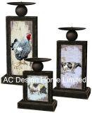 MDF dell'oggetto d'antiquariato dell'annata di disegno del gallo S/3 di legno/supporto di candela rettangolare sottile decalcomania di carta del metallo