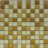 Pó de ouro mosaico de vidro, com Novo Design de parede de cristal de ladrilhos, mosaicos de vidro ouro em pó