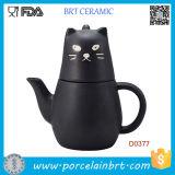 POT del tè del gatto nero del Giappone e tazza di tè di ceramica
