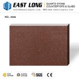 Brown fines particules de quartz artificielle en pierre polie pour des comptoirs de l'île