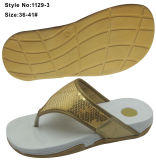 EVA High Heel Thick Sole Height Aumentar Flip Flop Mulher Chinelo com Sequins e Destaques Superior