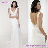Reizvoller tiefer V-Stutzen Sleeveless und Backless Hochzeits-Kleid