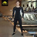 La aptitud de la camisa/de las polainas de la compresión de los hombres remata y jadea deportes
