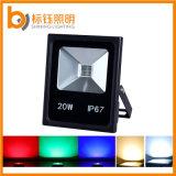 Luz de inundação ao ar livre do diodo emissor de luz do RGB do projetor do Luminaire da iluminação exterior da ESPIGA 20W