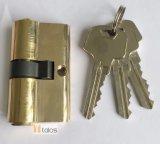 Cerradura de puerta estándar 5 pernos latón chapado doble seguro bloqueo de cilindro 35 mm-35 mm