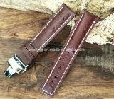 Correia de relógio de couro genuíno de bezerro com fivela de implantação (padrão de bambu)