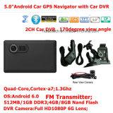 5.0inch capacitieve GPS van de Auto van de multi-Aanraking Androïde PC van de Tablet van de Navigatie met 2CH Auto DVR, de camera van de Auto 5.0mega, WiFi; Bluetooth; FM-zender; GPS Navigator