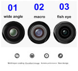 3 en 1 lente de cámara granangular del teléfono móvil de la viruta Macro+Fish Eye+