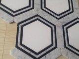 Hexágono Cristal Blanco con Carrara Blanco y Nero Marquina Waterjet Mosaico Azulejo