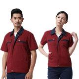 짧 소매를 가진 여름 의복 공장 수출 노동자 착용 작동되는 제복